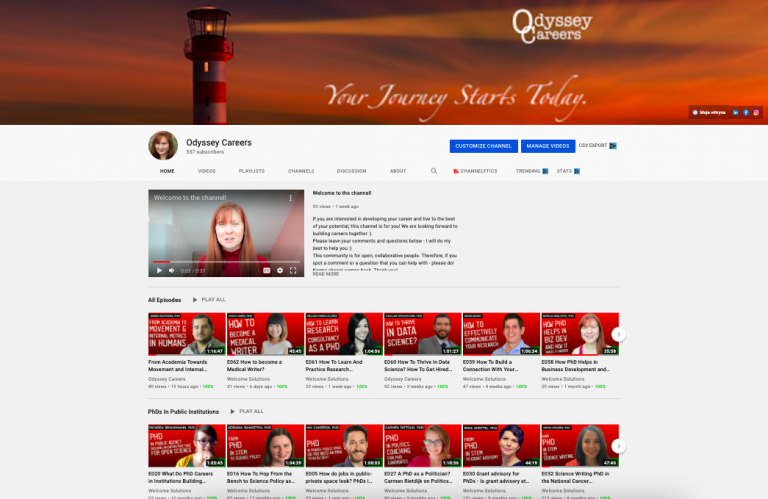 Odyssey careers youtube channel